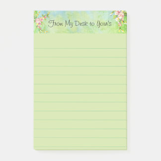 Pretty Watercolor Pink Floral Green Background Post-it Notes