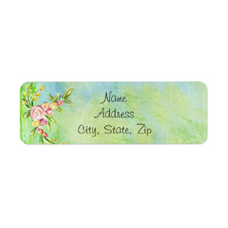 Pretty Watercolor Pink Floral Green Background Return Address Label