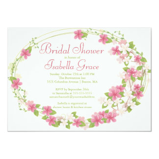 Pretty Watercolor Pink Floral Wreath Bridal Shower Card