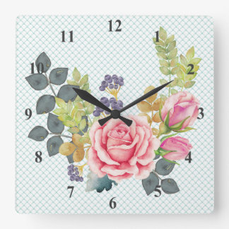 Pretty Watercolor Pink Rose Bouquet Square Wall Clock
