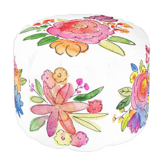 Pretty Watercolor Posies Pouf
