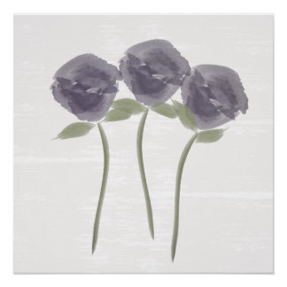 Pretty Watercolor Purple Roses Poster