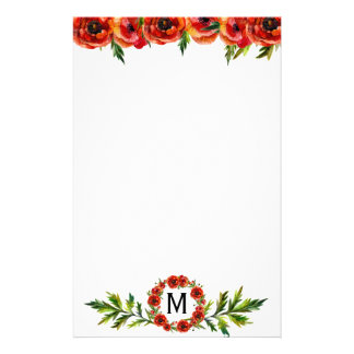 Pretty Watercolor Red Poppy Floral Monogrammed Customized Stationery