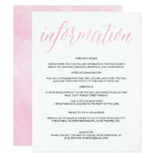 pretty watercolor script wedding information card