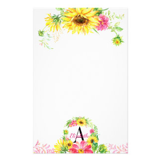 Pretty Watercolor Sunflower Floral Monogrammed Stationery