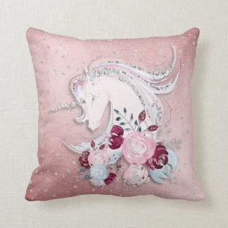 Pretty Watercolor Unicorn Pink Silver Cushion