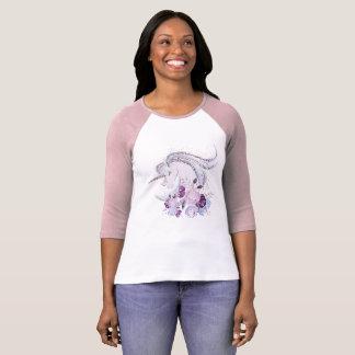 Pretty Watercolor Unicorn Pink Silver T-Shirt