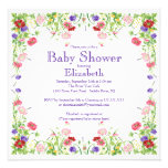 Pretty Watercolor Wildflower Floral Baby Shower Custom Invites