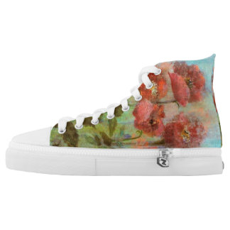 Pretty Watercolour Pastel Poppies High Tops