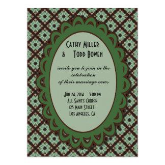 Pretty Wedding Green Brown CrissCross Pattern 17 Cm X 22 Cm Invitation Card