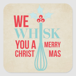 Pretty Whisk You a Merry Christmas Square Sticker