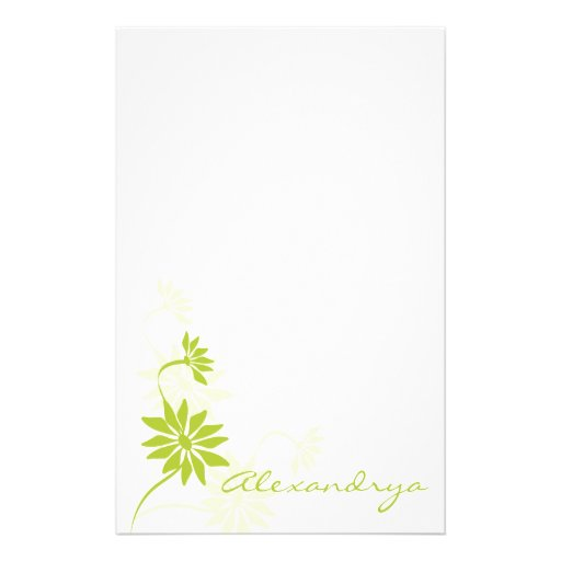 Pretty White and Green Feminine Notepad Customized Stationery