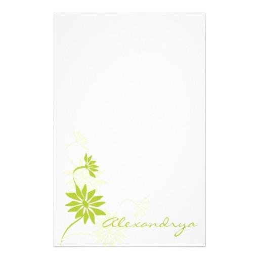 Pretty White and Green Feminine Notepad Customized Stationery