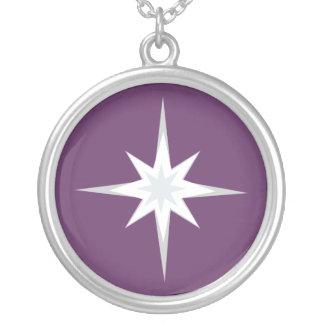 Pretty White & Blue Star Customizable Purple Round Pendant Necklace