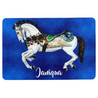 Pretty White Carousel Horse on Deep Blue Floor Mat