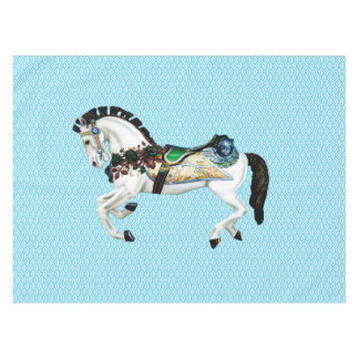 Pretty White Carousel Horse Tablecloth