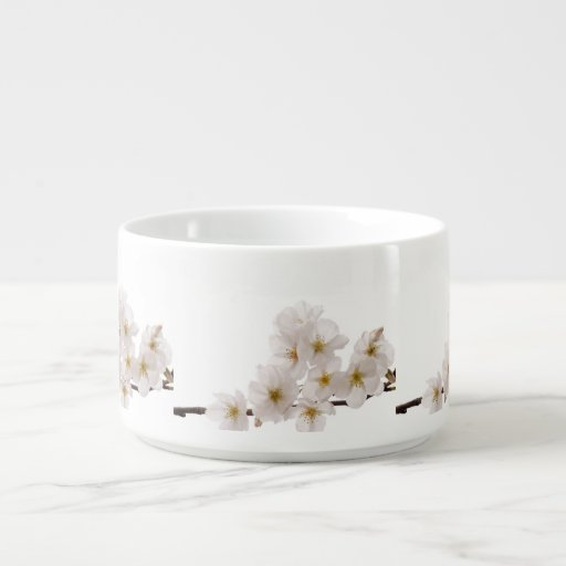 Pretty White Cherry Blossoms Chili Bowl