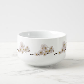 Pretty White Cherry Blossoms Soup Bowl With Handle