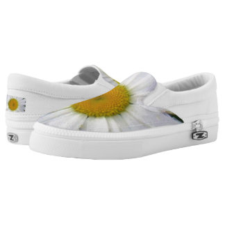 Pretty white daisy floral photo art printed shoes