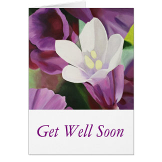 Pretty White Flower - Get Well Soon Greeting Card