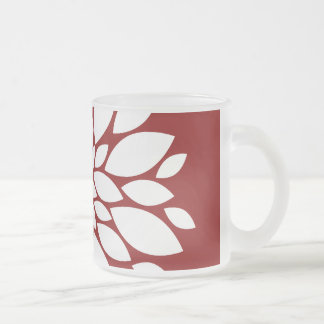 Pretty White Flower Petal Art on Red Frosted Glass Mug