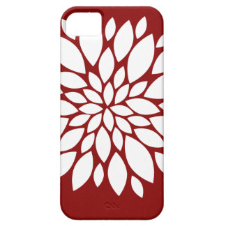 Pretty White Flower Petal Art on Red iPhone 5 Case