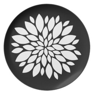 Pretty White Flower Petals Art on Black Plate