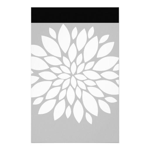 Pretty White Flower Petals Art on Black Custom Stationery