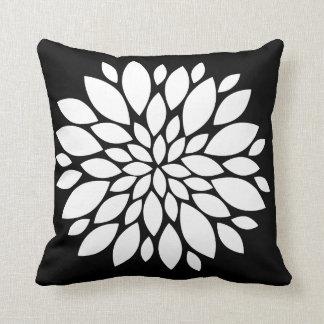 Pretty White Flower Petals Art on Black Throw Pillow