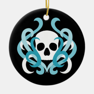 Pretty white gothic skull and light blue swirls round ceramic decoration