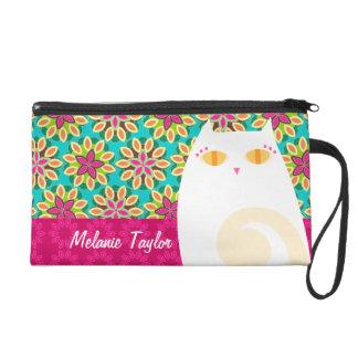 Pretty White Kitty on Floral - Custom Mini Bag Wristlet Clutch