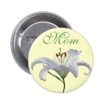 Pretty White Lily Flower Badge