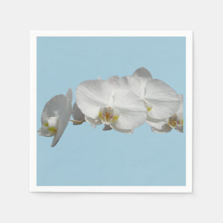 Pretty White Orchid on Light Blue Disposable Serviette
