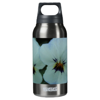 Pretty White Pansies Insulated Water Bottle