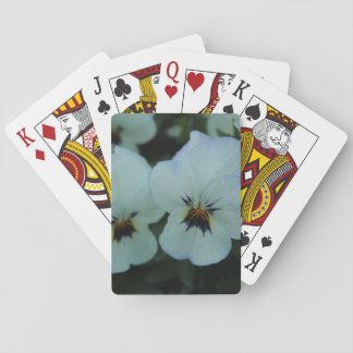 Pretty White Pansies Playing Cards