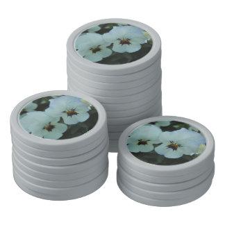 Pretty White Pansies Poker Chips
