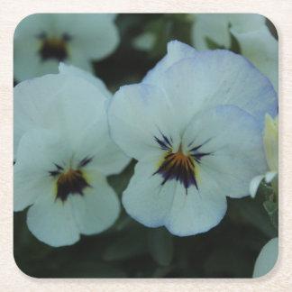 Pretty White Pansies Square Paper Coaster