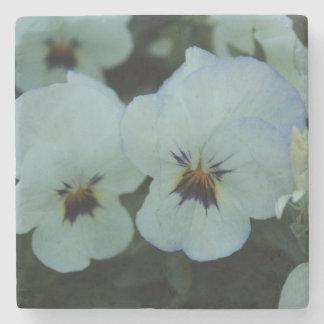 Pretty White Pansies Stone Coaster