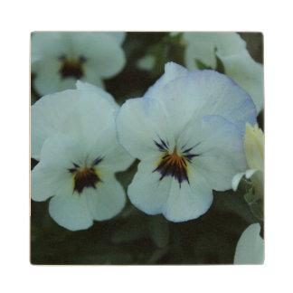Pretty White Pansies Wood Coaster