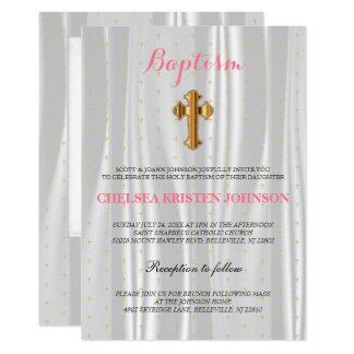 Pretty White Satin Baptism / Christening Card