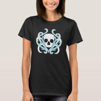 Pretty white skull and pale blue swirls T-Shirt