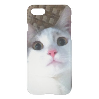 Pretty White Surprised Kitty Cat iPhone 7 Case