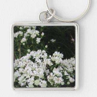 Pretty White Wildflower Key Ring