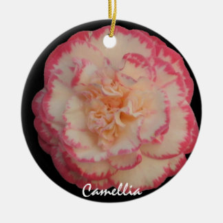 Pretty White with Pink Camellia Christmas Ornament