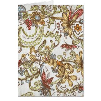 Pretty Wild Flower Swirls Background Card