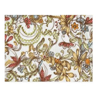 Pretty Wild Flower Swirls Background Postcards