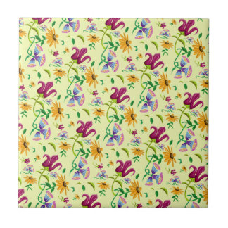 Pretty Wild Flowers Floral Pattern Small Square Tile