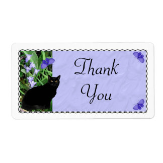 Pretty Wildflowers and Cat Thank You Stickers - La Shipping Label