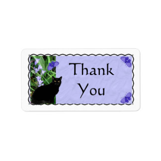 Pretty Wildflowers and Cat Thank You Stickers - La Address Label