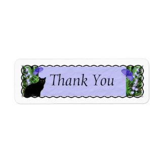 Pretty Wildflowers and Cat Thank You Stickers Return Address Label